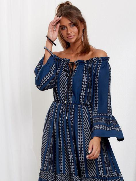 SCANDEZZA Granatowa sukienka maxi hiszpanka ze wzorem                              zdj.                              5