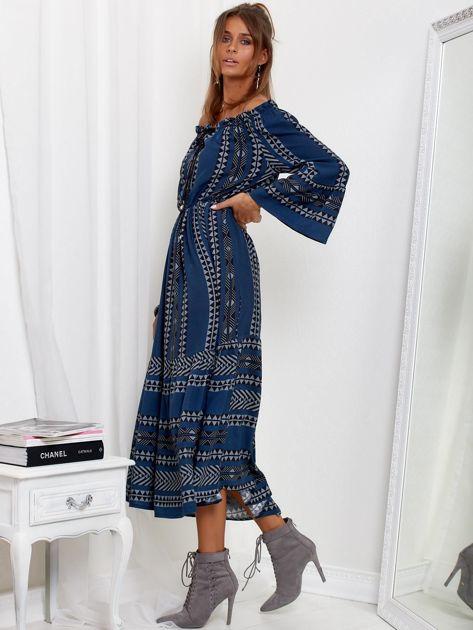 Granatowa sukienka maxi hiszpanka ze wzorem                              zdj.                              3
