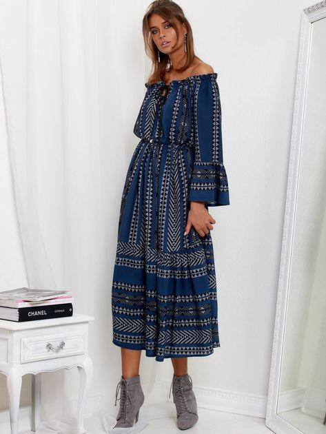 SCANDEZZA Granatowa sukienka maxi hiszpanka ze wzorem                              zdj.                              4