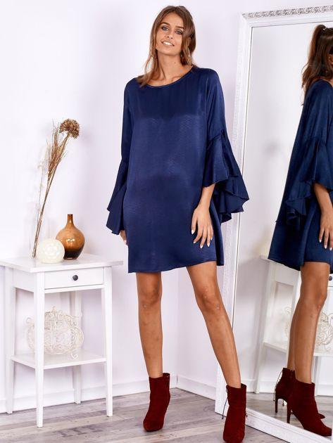 Granatowa sukienka z hiszpańskimi rękawami                              zdj.                              1