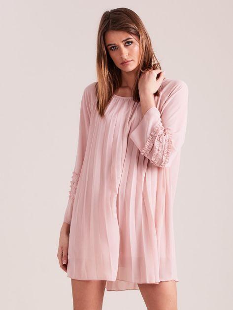Jasnoróżowa plisowana sukienka                              zdj.                              9