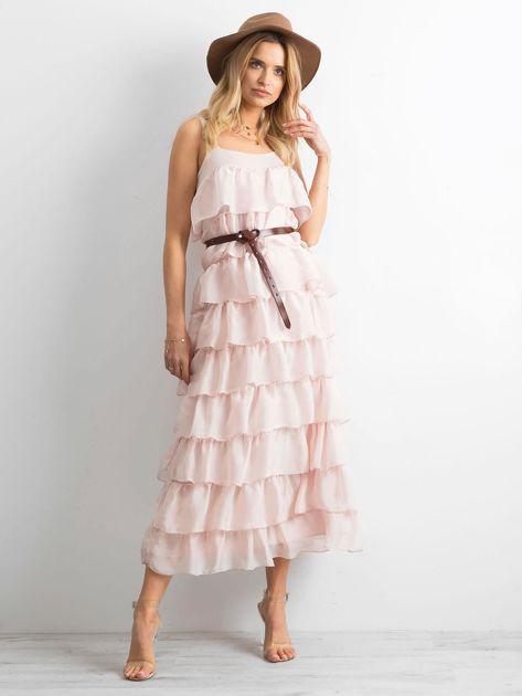 Jasnoróżowa sukienka z falbanami                              zdj.                              4
