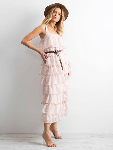Jasnoróżowa sukienka z falbanami                              zdj.                              3