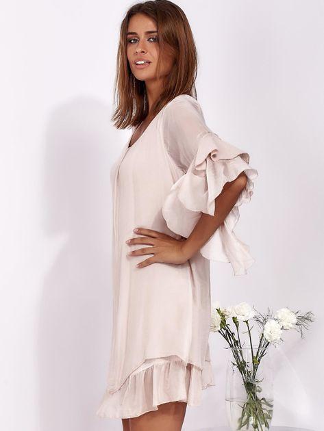 SCANDEZZA Jasnoróżowa zwiewna sukienka z hiszpańskimi rękawami                              zdj.                              3
