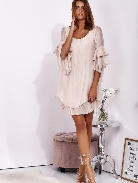 Jasnoróżowa zwiewna sukienka z hiszpańskimi rękawami                              zdj.                              4
