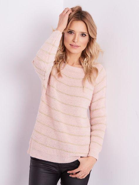 Jasnoróżowy sweter z błyszczącą nitką                              zdj.                              7