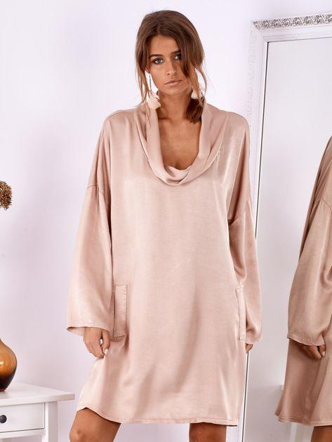 SCANDEZZA Pudroworóżowa luźna sukienka z jedwabiem                              zdj.                              2