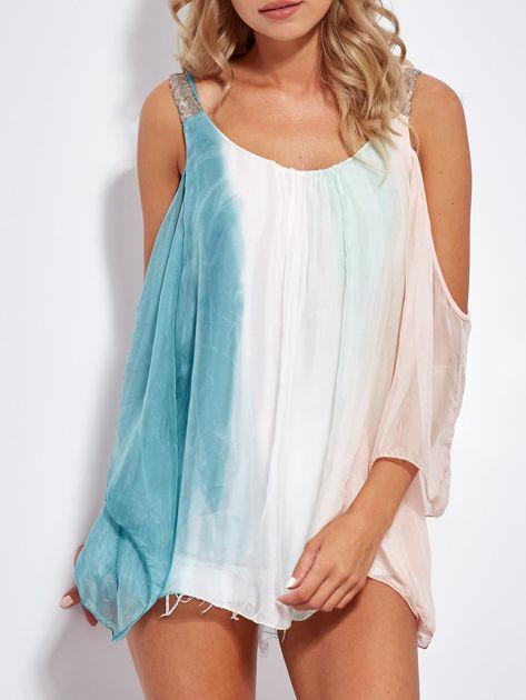 SCANDEZZA Różowo-zielona bluzka ombre bez ramion z cekinami                              zdj.                              1