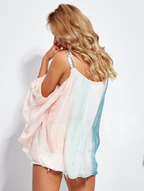 Różowo-zielona bluzka ombre bez ramion z cekinami                              zdj.                              6