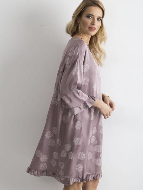 Sukienka we wzory fioletowa                               zdj.                              5