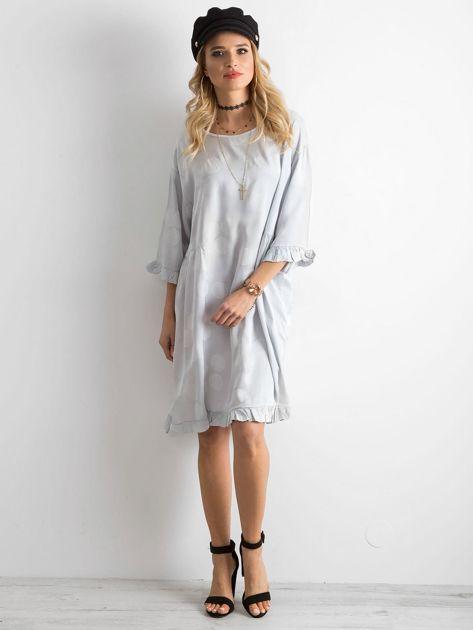 Sukienka we wzory szara                               zdj.                              4