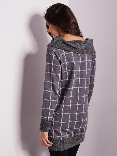 Szara bluza w kratę                              zdj.                              3