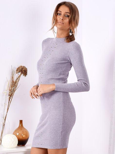 Szara dopasowana sukienka w prążek z oczkami                              zdj.                              3