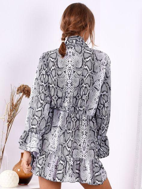 SCANDEZZA Szara wężowa sukienka z wiązanym chokerem                              zdj.                              3
