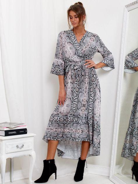 Szaro-różowa sukienka maxi z nadrukiem snake skin                              zdj.                              4