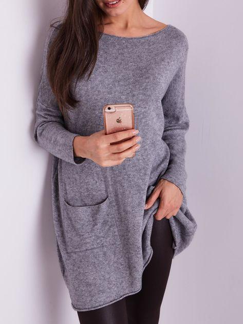 Szary długi sweter                              zdj.                              2