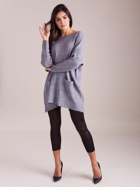 Szary długi sweter                              zdj.                              1