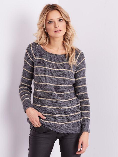 Szary sweter z błyszczącą nitką                              zdj.                              4