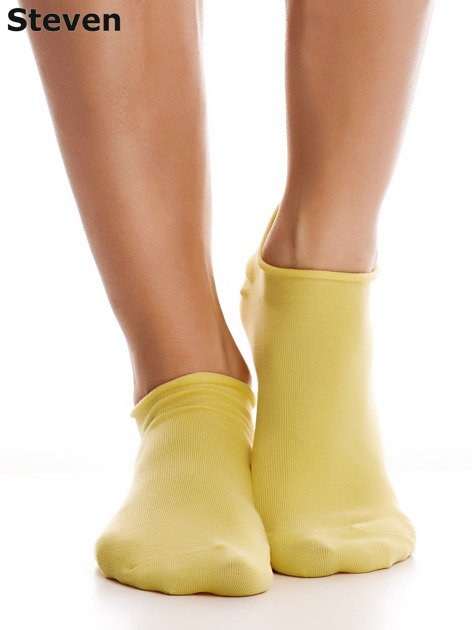 STEVEN Bawełniane żółte skarpety stopki                                  zdj.                                  5