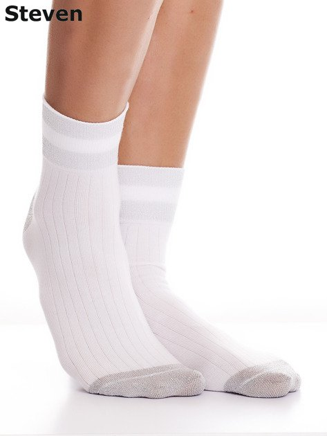 STEVEN Białe skarpety z wysoką zawartością bawełny                              zdj.                              2