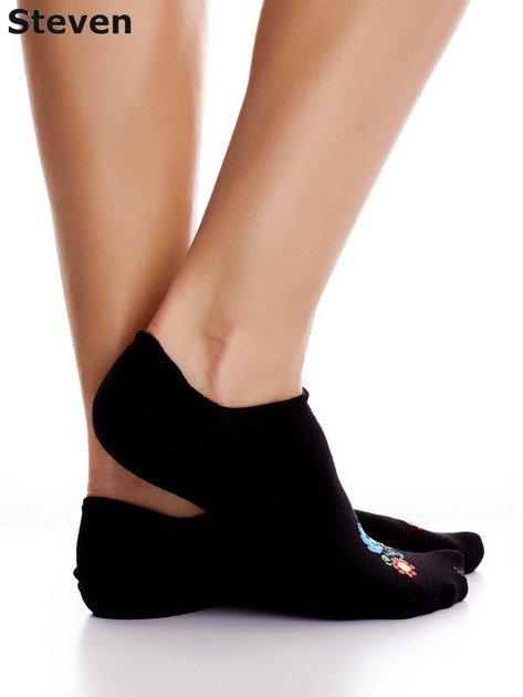 STEVEN Czarne stopki bawełniane z folkowym detalem                              zdj.                              2