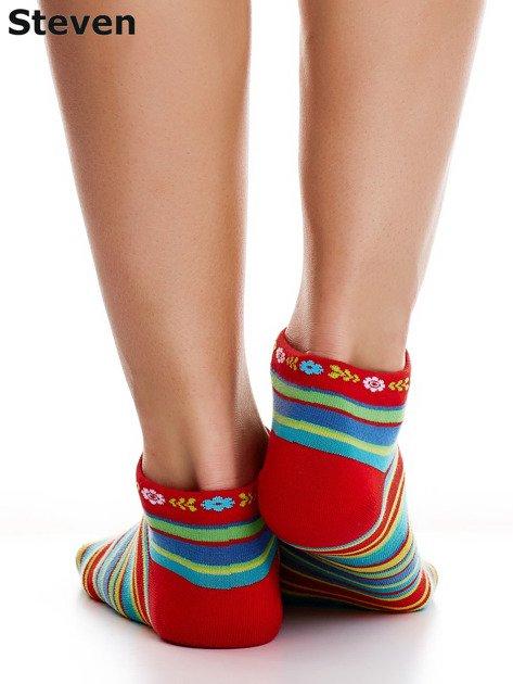 STEVEN Czerwone skarpety bawełniane stopki we wzór pasków                              zdj.                              3