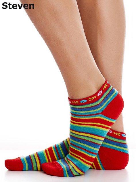 STEVEN Czerwone skarpety bawełniane stopki we wzór pasków                              zdj.                              4