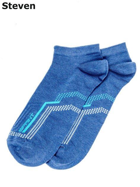 STEVEN Niebieskie bawełniane skarpety męskie                                  zdj.                                  1