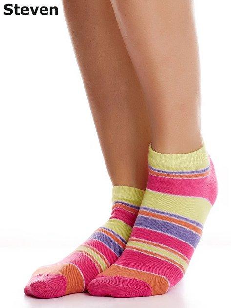 STEVEN Żółto-różowe bawełniane stopki w paski                              zdj.                              2