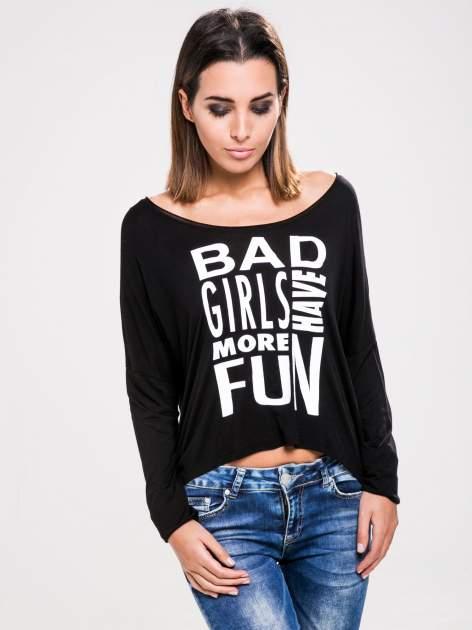 STRADIVARIUS Czarna bluzka z napisem BAD GIRLS HAVE MORE FUN                                  zdj.                                  1