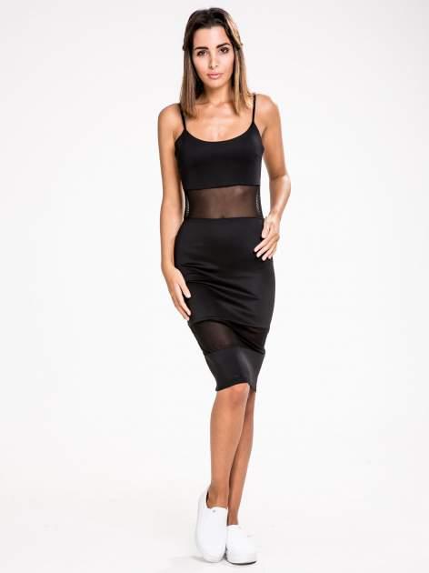 STRADIVARIUS Czarna sukienka z transparentnymi modułami