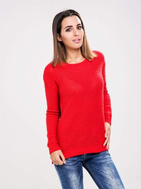 STRADIVARIUS Czerwony sweter z suwakiem z tyłu