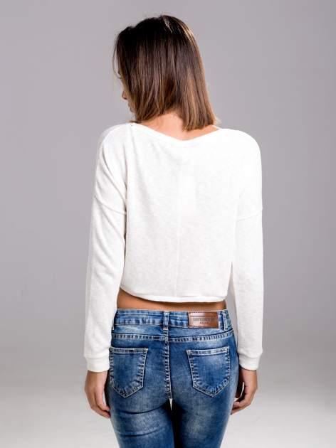 STRADIVARIUS Ecru bluzka sweterek typu cropped                                  zdj.                                  2