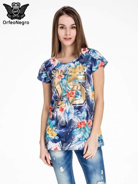 Siateczkowy t-shirt w kwiaty z nadrukiem SAN DIEGO 15