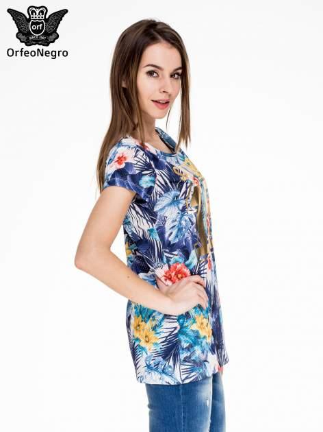 Siateczkowy t-shirt w kwiaty z nadrukiem SAN DIEGO 15                                  zdj.                                  3