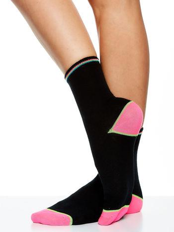 Skarpetki damskie czarne kolorowa stopa i palce mix 5 par                                  zdj.                                  2