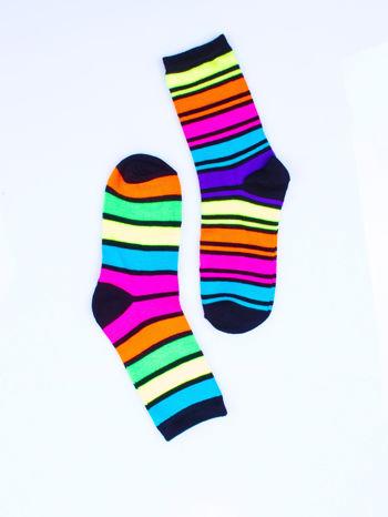 Skarpetki damskie czarne w kolorowe paski zestaw 2 pary                                  zdj.                                  5