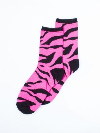 Skarpetki damskie róż zebra-paski zestaw 2 pary                                  zdj.                                  3