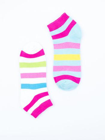 Skarpetki damskie stopki biały-niebieski paski zestaw 2 pary                                  zdj.                                  6