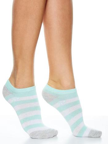 Skarpetki damskie stopki niebieski-szary paski zestaw 2 pary                                  zdj.                                  2