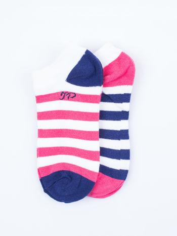 Skarpetki damskie stopki różowe i fioletowe paski zestaw 2 pary                                  zdj.                                  1
