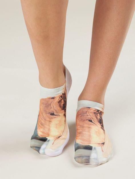 Skarpety damskie stopki z printem