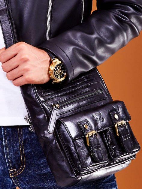 Skórzana torba męska czarna z kieszeniami                              zdj.                              6