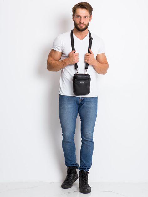 Skórzana torba męska z klapką czarna                              zdj.                              5