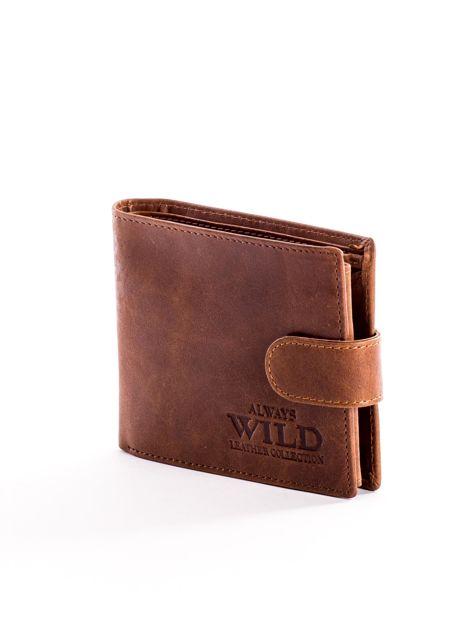 Skórzany brązowy portfel męski z klapką                              zdj.                              3