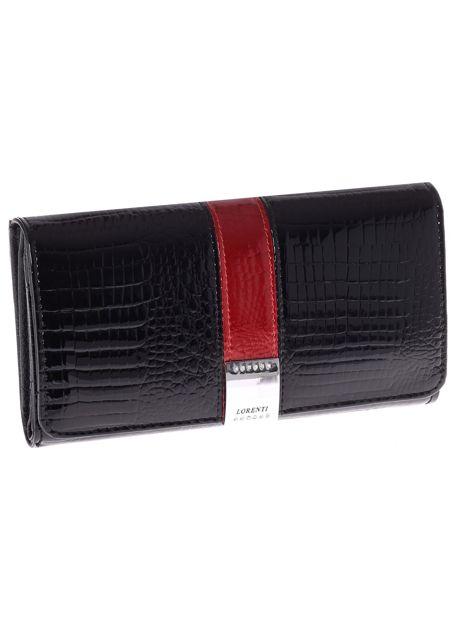 Skórzany czarny portfel podłużny ze wzorem crocodile skin