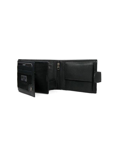Skórzany portfel męski z zapięciem czarny                              zdj.                              3