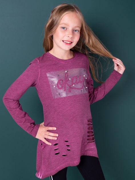 Śliwkowa bawełniana tunika dla dziewczynki