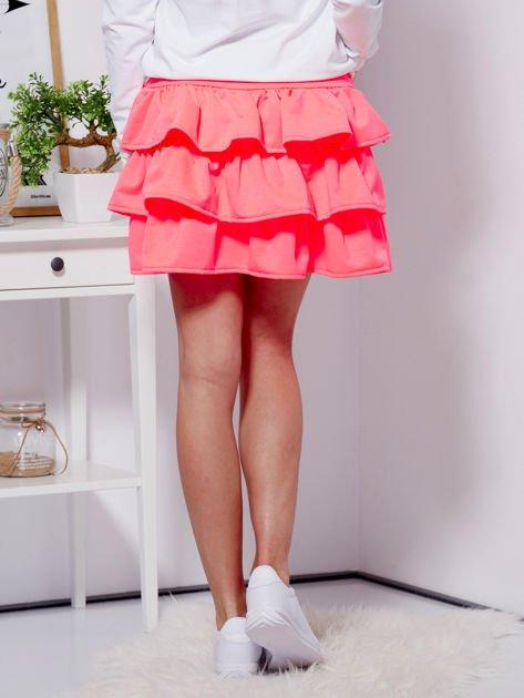 Spódnica fluo różowa dresowa z falbankami                                  zdj.                                  2