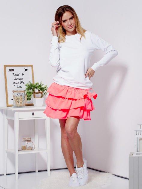 Spódnica fluo różowa dresowa z falbankami                                  zdj.                                  4